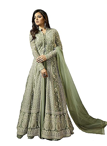 8a4a995787 MONIKA SILK MILL Womne s Net Gown Style Embroidered Party Traditional Wear  Anarkali Salwar Suits (Light Green