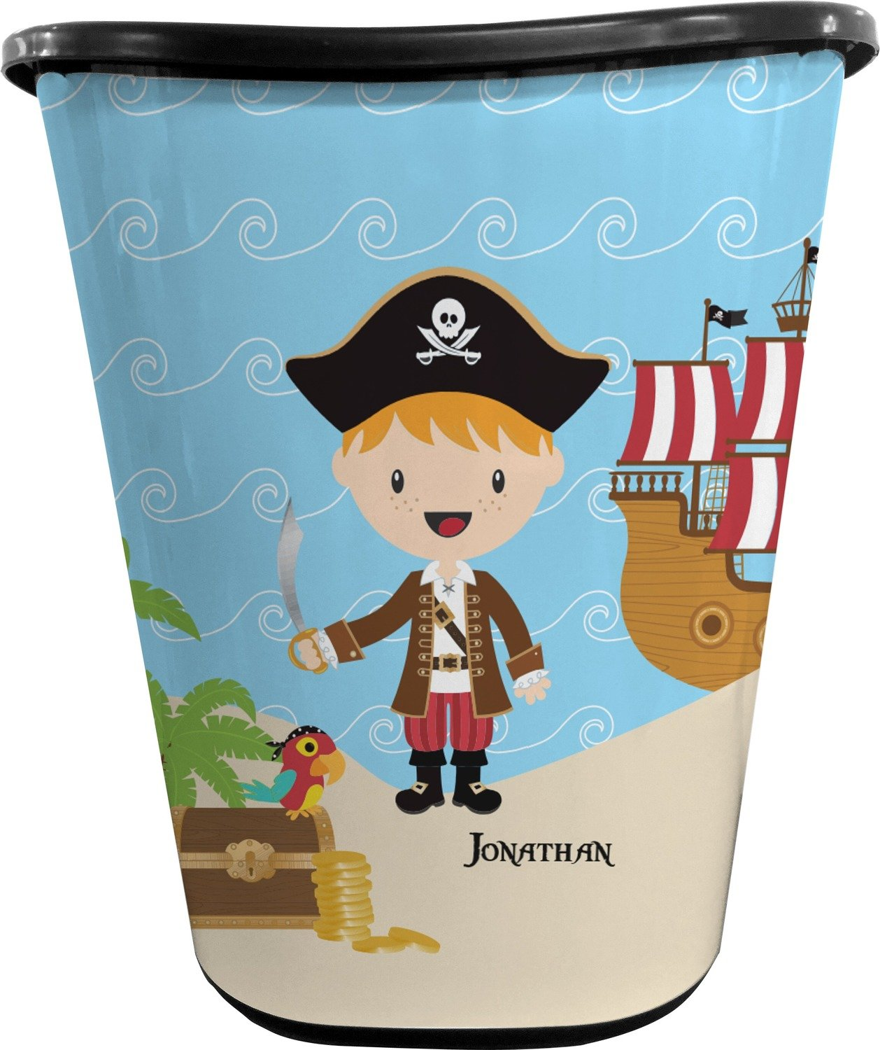 Pirate Scene Waste Basket - Single Sided (Black) (Personalized)