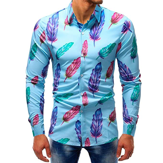 25f2c3ae514457 vermers Mens Button Down Shirts - Men Fashion Printed Blouse Casual Long  Sleeve Slim Shirts Tops