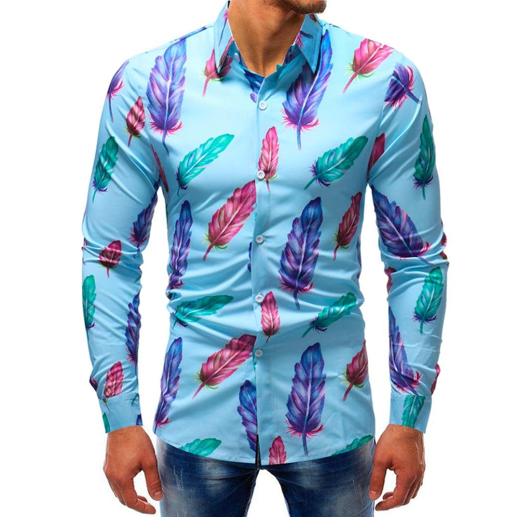 vermers Clearance Sale Mens Button Down Shirts - Men Fashion Printed Blouse Casual Long Sleeve Slim Shirts Tops(5XL, Multicolor)