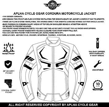 ACG ALL SEASON VIPER MOTORCYCLE JACKET TJ0027 BLACK, MEDIUM
