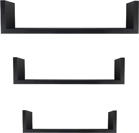 Floating U Shelf Set of 3 in Black XF11039BK