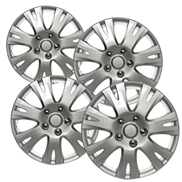 OxGord 16 inch Hubcaps Best for 2009-2012 Mazda M - (Set of 4) Wheel Covers 16in Hub Caps Silver Rim Cover - Car Accessories for 16 inch Wheels - Snap ...
