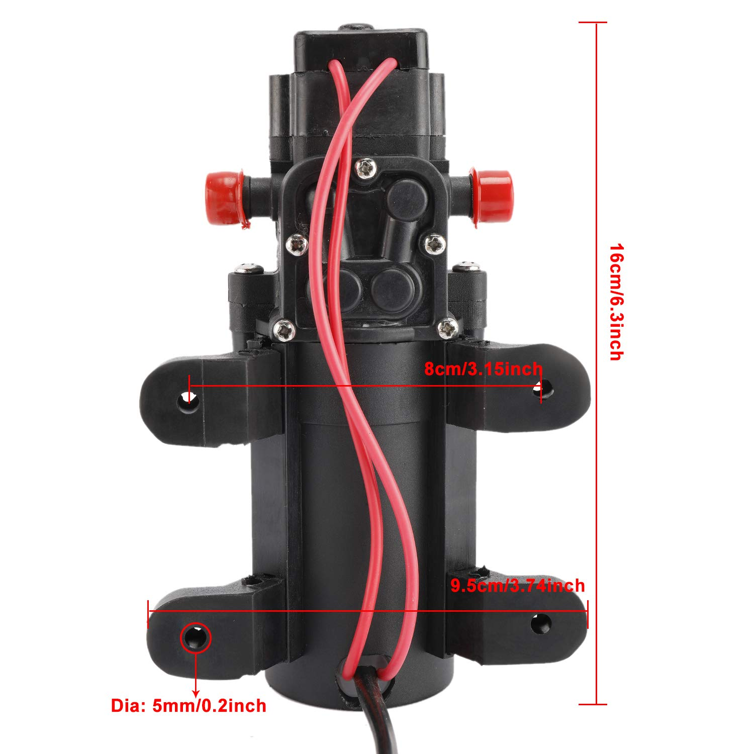 DasMarine Diaphragm Water Pressure Pump with 2 Hose Clamps 12V 1.1 GPM 35 PSI Water Pressure Pump for Caravan//RV//Boat//Marine