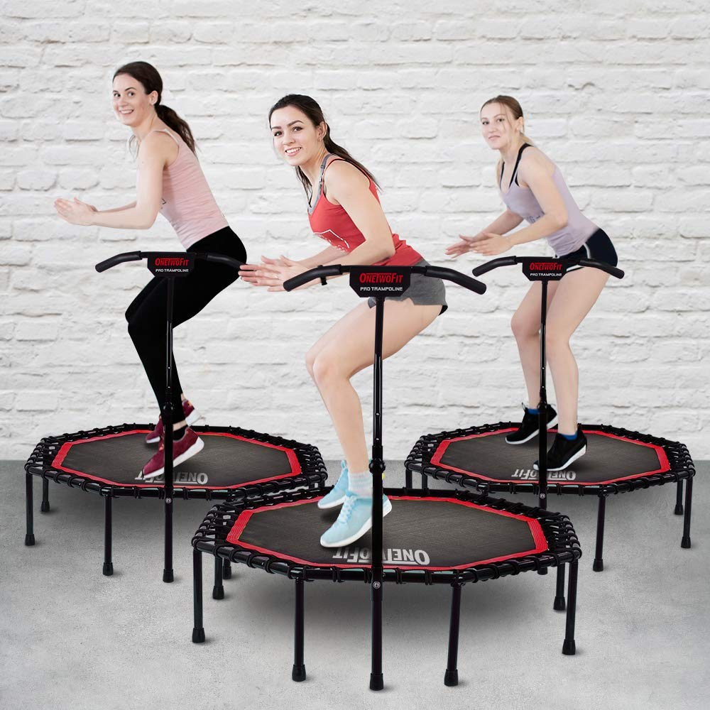 ONETWOFIT 51'' Silent Trampoline with Adjustable Handle Bar, Fitness Trampoline Bungee Rebounder Jumping Cardio Trainer Workout for Adults OT104 by ONETWOFIT (Image #8)