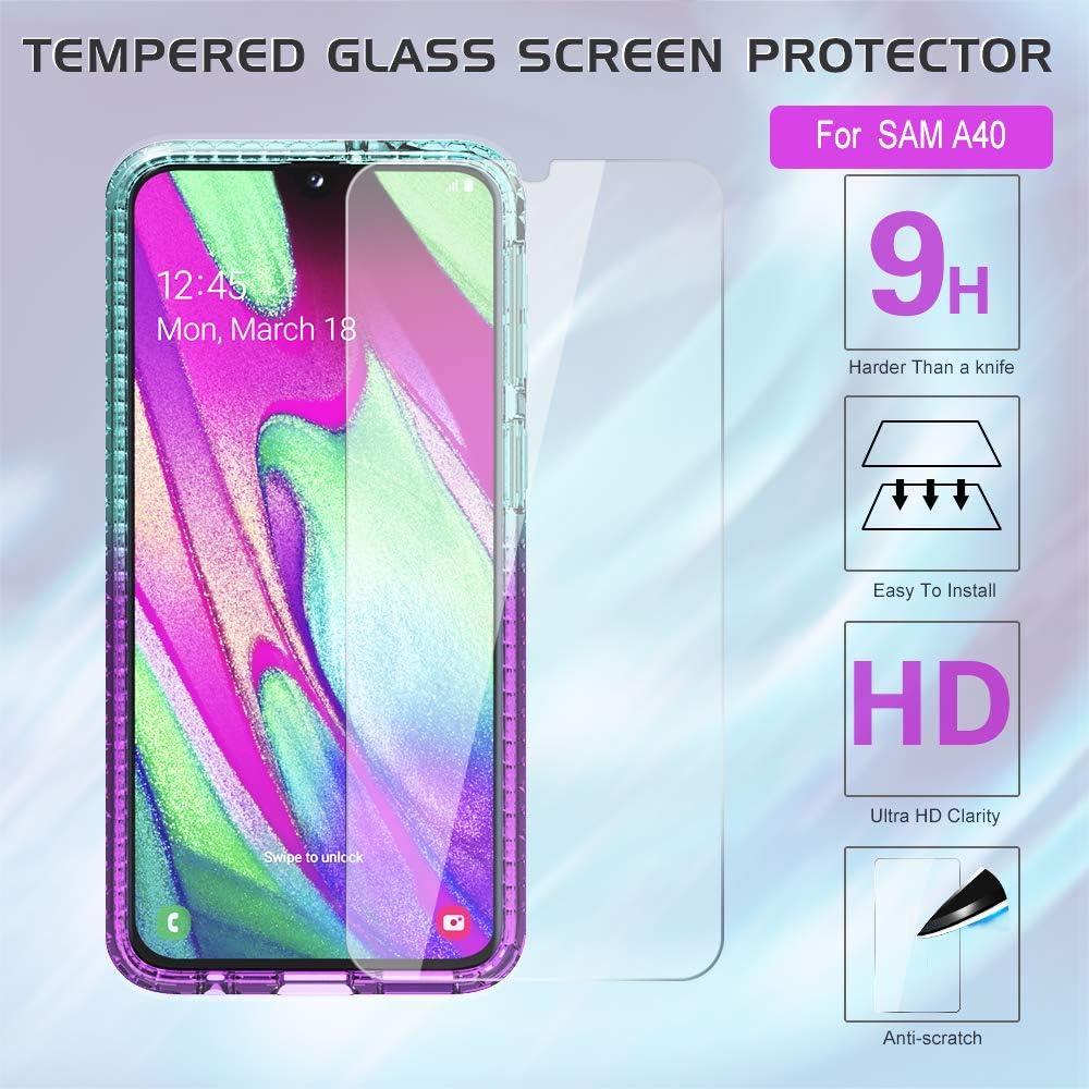 LeYi Funda Samsung Galaxy A20e Silicona Purpurina Carcasa con 2-Unidades Cristal Vidrio Templado Transparente Cristal Bumper Gel TPU Fundas Case Cover para Movil Samsung A20e Morado//Azul
