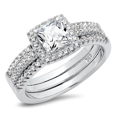 sz 4 sterling silver cushion cubic zirconia cz 2pc halo wedding engagement ring insert set - Halo Wedding Ring