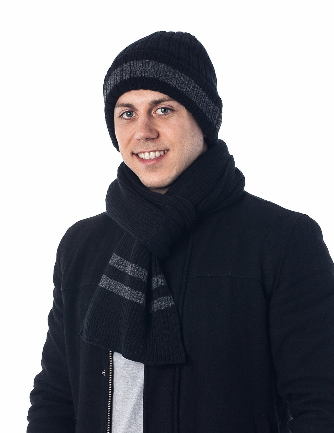 Men's Two-Toned 3M Fleece Thinsulate Ribbed Knit Scarf and Hat Set BlackCharcoal