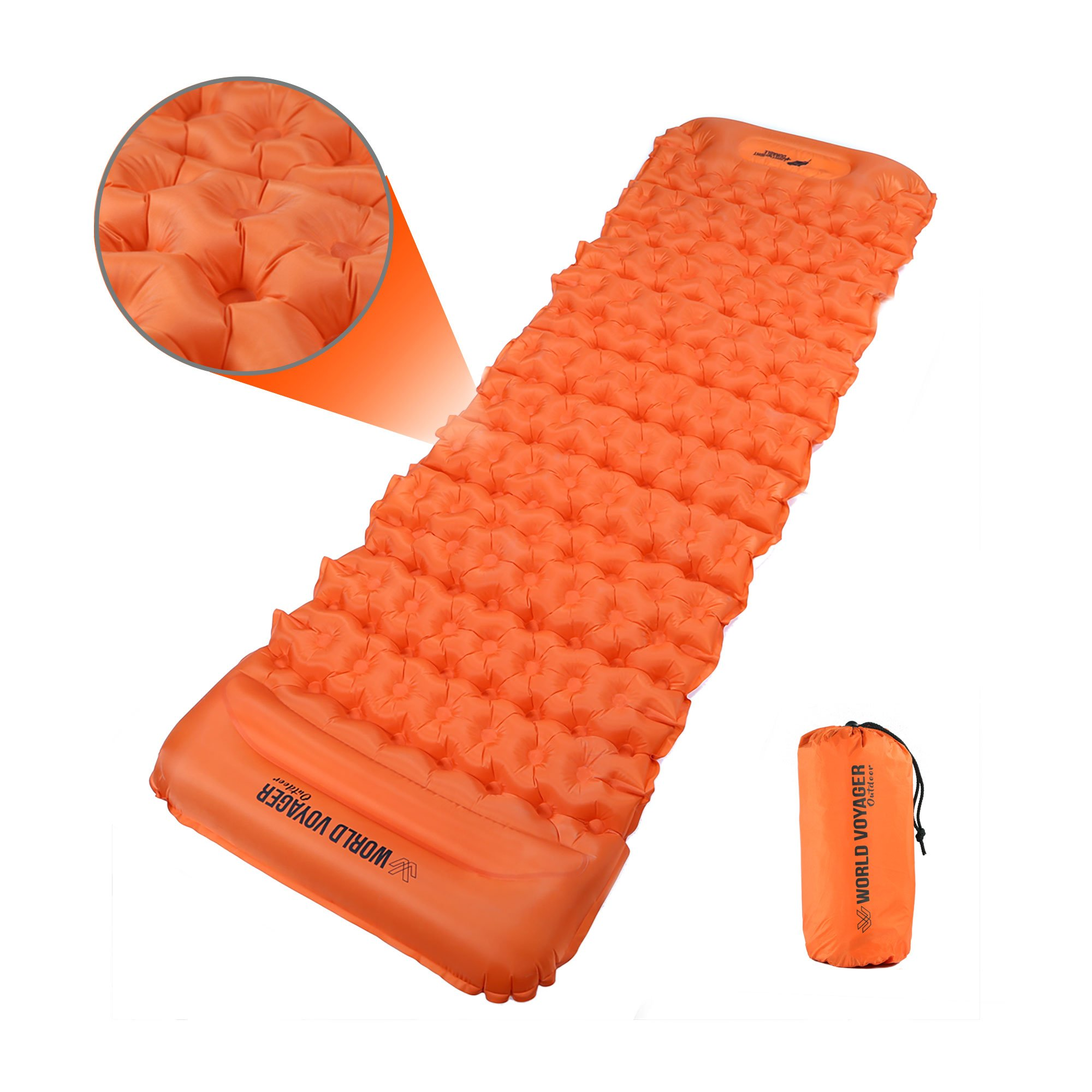 World Voyager Ultralight & Compact Sleeping Pad W/Built-in Pillow and easy-inflate technology
