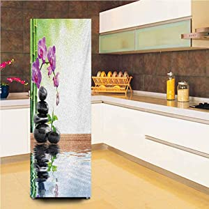 """Customized Door Fridge Sticker Closet Cover,Spa with Spring Water Health Giving Pties Way of Getting Better Art Vinyl Door Cover Refrigerator Stickers,24x59"""",for Refrigerator,Multicolor"""