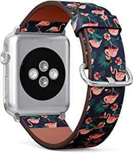 Compatible with Apple Watch 38mm & 40mm (Series 5, 4, 3, 2, 1) Leather Watch Wrist Band Strap Bracelet with Stainless Steel Clasp and Adapters (Beautiful Flamingo Bird Flowers)