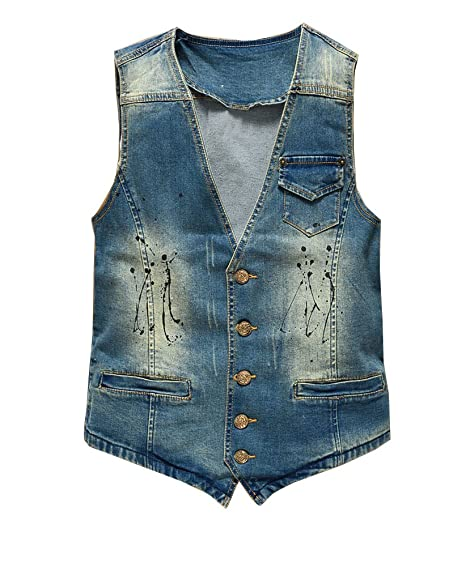 cute cheap check out amazon Veste sans Manche Homme Veste en Denim Gilet Jean Cowboy Blouson#MJ01