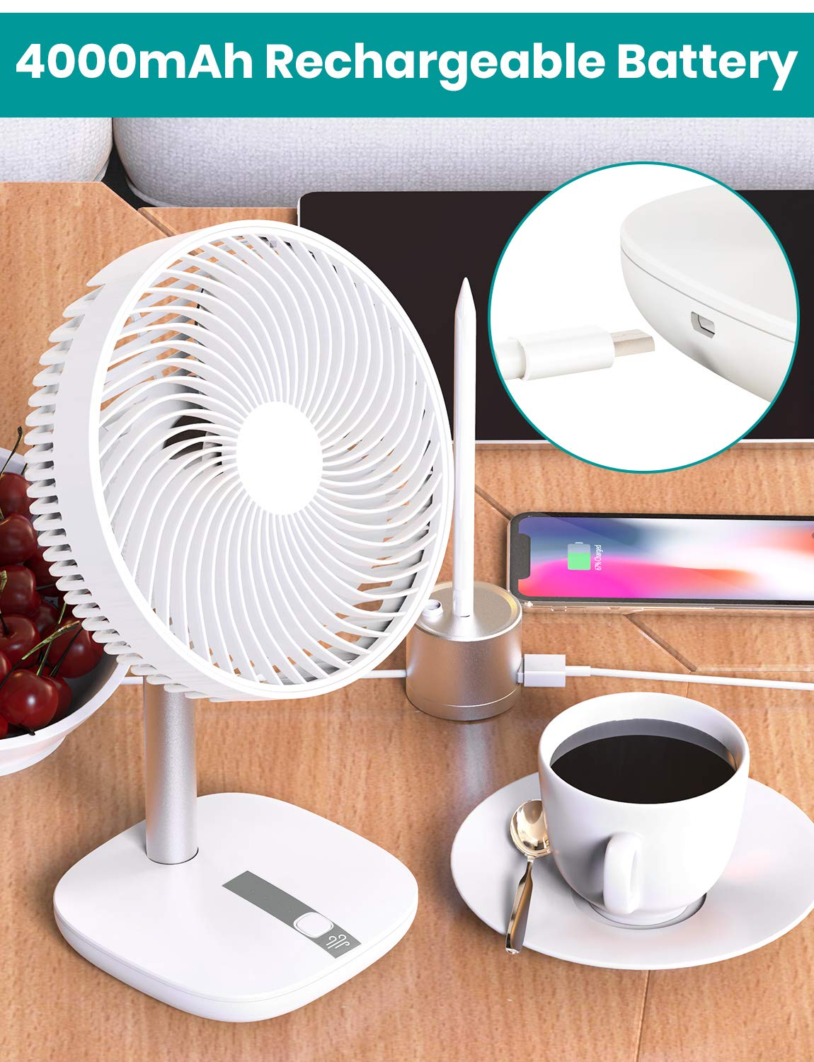 3 in 1 Clip Desk Fan with Carry Handle,Klearlook 4 Speeds with Natural Wind Mode USB Rechargeable with 2000mAh Battery 360 Degree Nightstand Fan for Baby Stroller,Home,Office,Gym,Car Backseat,Outdoors