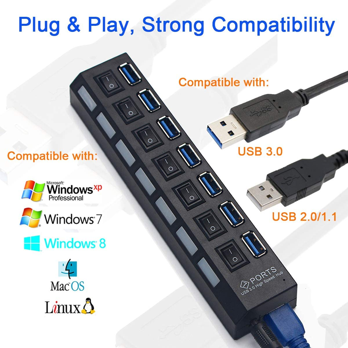 Windyoung USB Hub USB Splitter 3.0 for Laptop Computer USB Hub 3.0 with Power Supply Adapter Extension Cord USB 3.0 Hub with Individual Power Switches and LEDs 7 Ports USB Hub