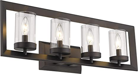 Emliviar Bath Vanity Light 4 Light Bathroom Wall Light Oil Rubbed Bronze Finish With Clear Glass Shade W2074 4 Orb Amazon Ca Home Kitchen