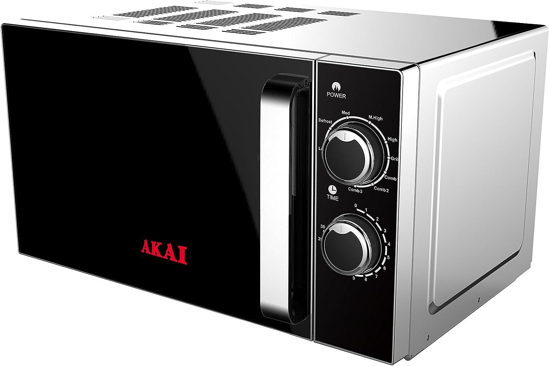 Akai AKMW201 Hornos, 700 W, 20 litros, Negro, Acero Inoxidable