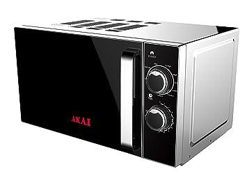 Akai AKMW201 Microondas con grill, 700 W, 20 litros, Negro, Acero inoxidable