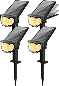 Otdair Solar Landscape Spotlights, 19 LED Solar Powered Lights Outdoor IP67 Pathway Lights Wireless, Bright Warm, 2 in 1 Wall Lights Yard Lights for Garden Driveway Porch Walkway Pool Patio 4Pcs