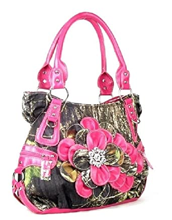Amazon.com  DH Concealed Carry Camo Western Rhinestone Flower Purse ... b901adbc7c28c