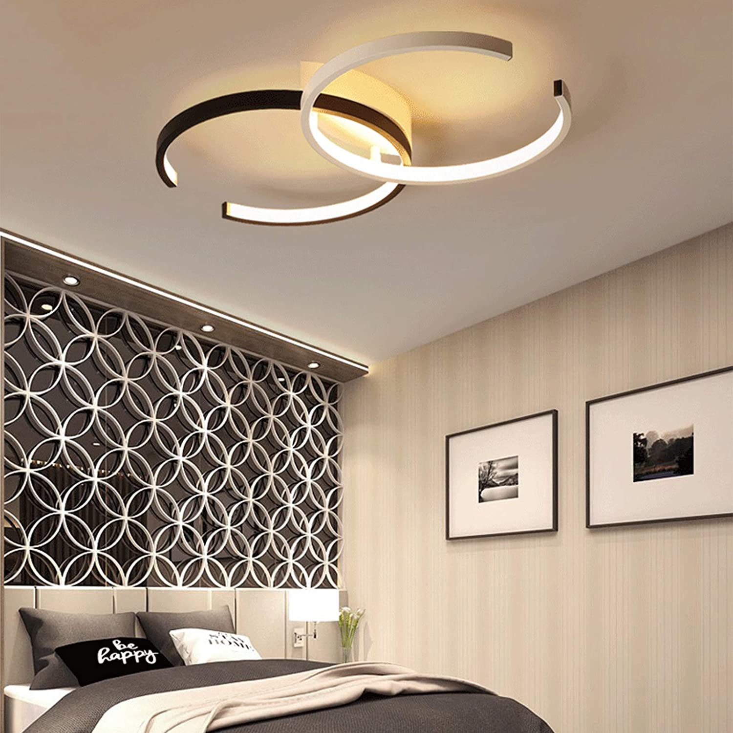 LED Ceiling Light,Modern Design Art Deco Dimmable with Remote Transitional  Chandelier Acrylic Flushmount Ceiling Fixture in White and Black Finish for