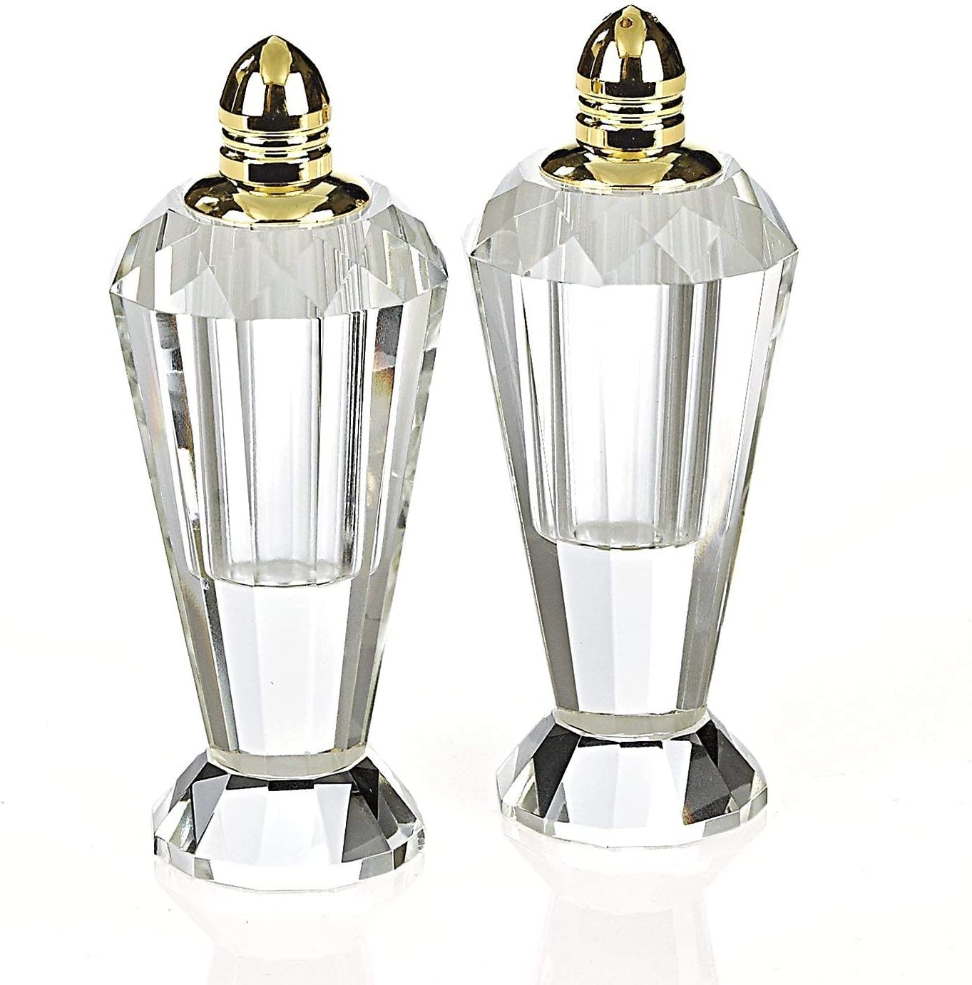 Amazon Com Homeroots Mouth Blown Crystal Gold Pair Of Salt Pepper Shakers Furniture Decor