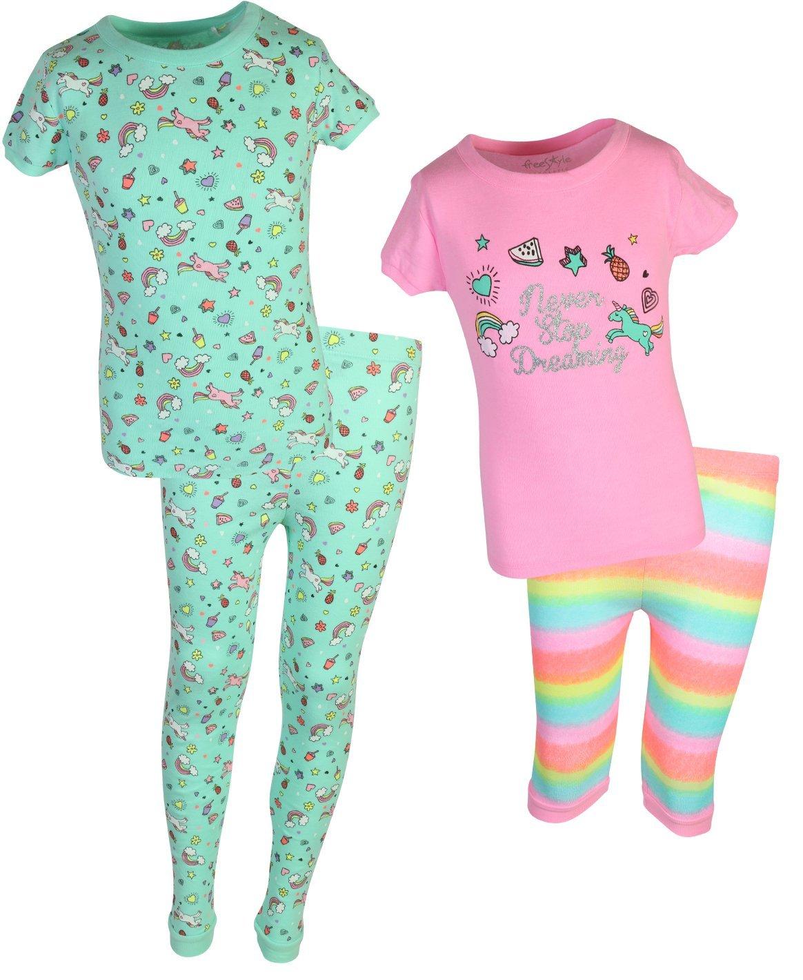 Freestyle Girl's 4-Piece Snug Fit Spring Pajama Set(2 Full Sets) Unicorn, Size 10'