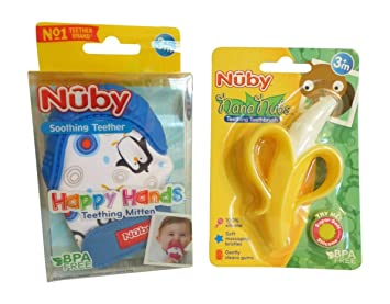 Amazon.com: Nuby dentición manoplas azul + Nuby Nana Nubs ...