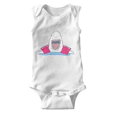 Juliuse Marthar Jumpsuits Shark with Red Floaties Baby Onesie Sleeveless Shirt Romper for Infant Boys Girls