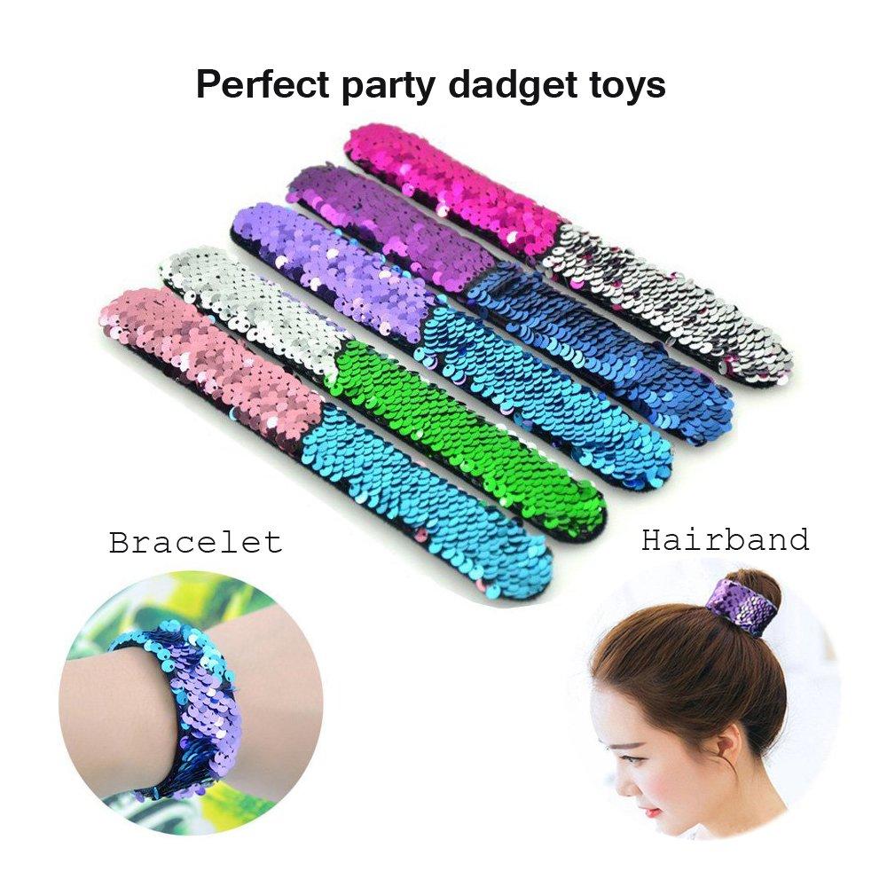 Hyfanda Magic Mermaid Slap Bracelet 12 Pack for Birthday Party Favors Christmas Gifts, Two-color Decorative Reversible Charm Sequins Flip Wristband Bracelet for Kids,Girls,Boys,Women (12PCS)