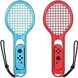 Bestico racchetta da tennis per joy-con per Mario Tennis Aces Nintendo Switch(2 pezzi)Rosso+Blu