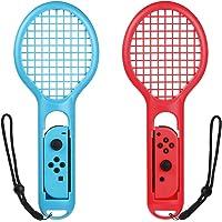Bestico Raqueta de Tenis para Nintendo Switch Joy Con, Raqueta de Tenis Especialmente para Mario Tennis Aces y Los Juegos de Raqueta Switch,(2 PACK) Rojo y Azul