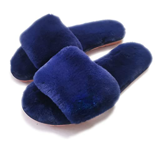 02e70016b32a8 Women's Fuzzy Fluffy Furry Fur Slippers Flip Flop Open Toe Cozy House  Sandals Slides Soft Flat Comfy Anti-Slip Spa Indoor Outdoor Slip on