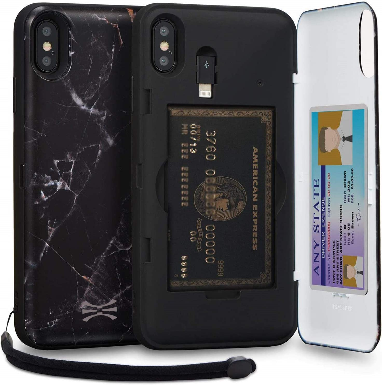 TORU CX PRO Compatible with iPhone Xs Max Case - Protective Dual Layer Wallet Pattern with Hidden Card Holder + ID Card Slot Hard Cover, Strap, Mirror & Lightning Adapter - Black Marble