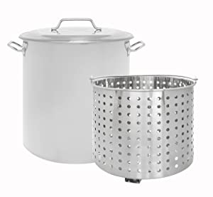 CONCORD Stainless Steel Stock Pot w/Steamer Basket. Cookware great for boiling and steaming (100 Quart)