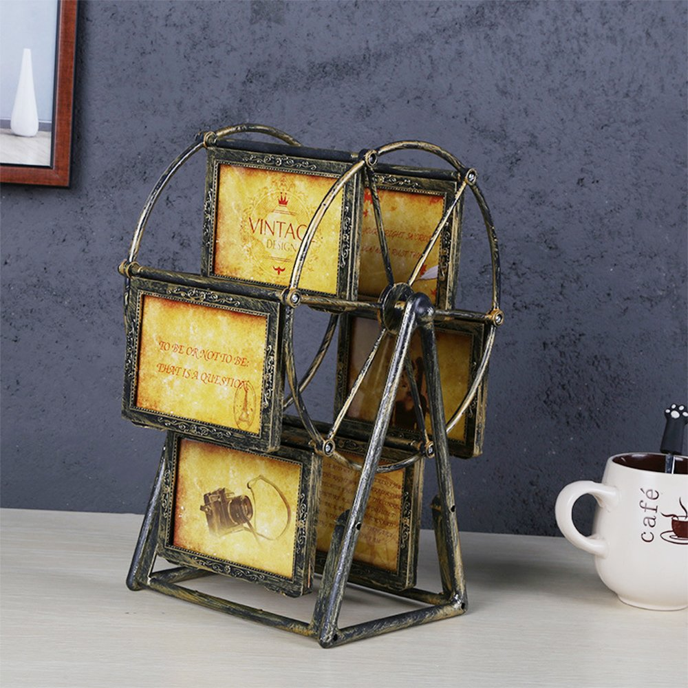 XBEEK Rotating Ferris Wheel Photo Frame, 12 Photos Shows For 3.5x5in Photographs, Vintage Retro Picture Frame, Multiple Picture Frames With Glass Front, Fit for Stands Vertically on Desk Table Top by XBEEK (Image #5)