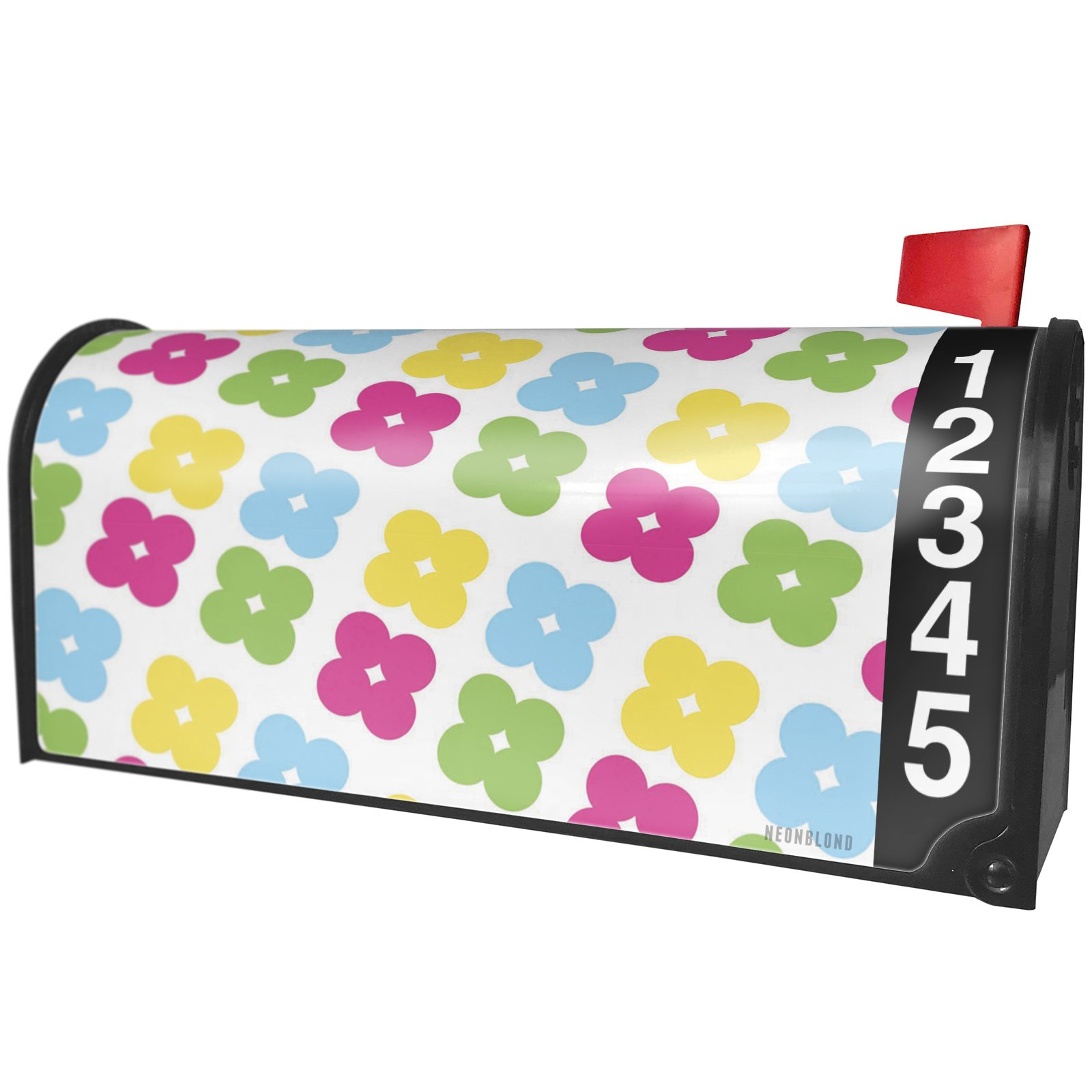 NEONBLOND Pattern Flower Power Pink Large Magnetic Mailbox Cover Custom Numbers