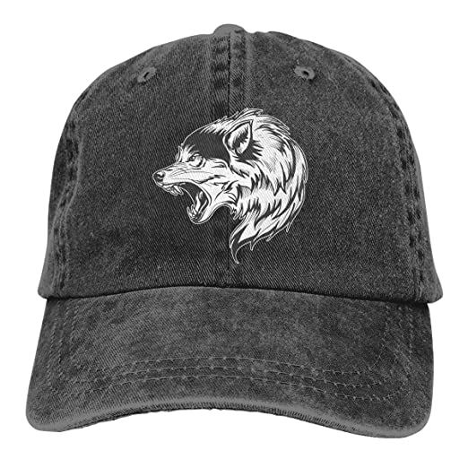 0d95f91a467 Wolf Head Unisex Vintage Washed Cap Fashion Adjustable Dad Hats at ...