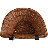 SODIAL Retro, Handmade, Wicker Bicycle Front Basket with Leather Straps