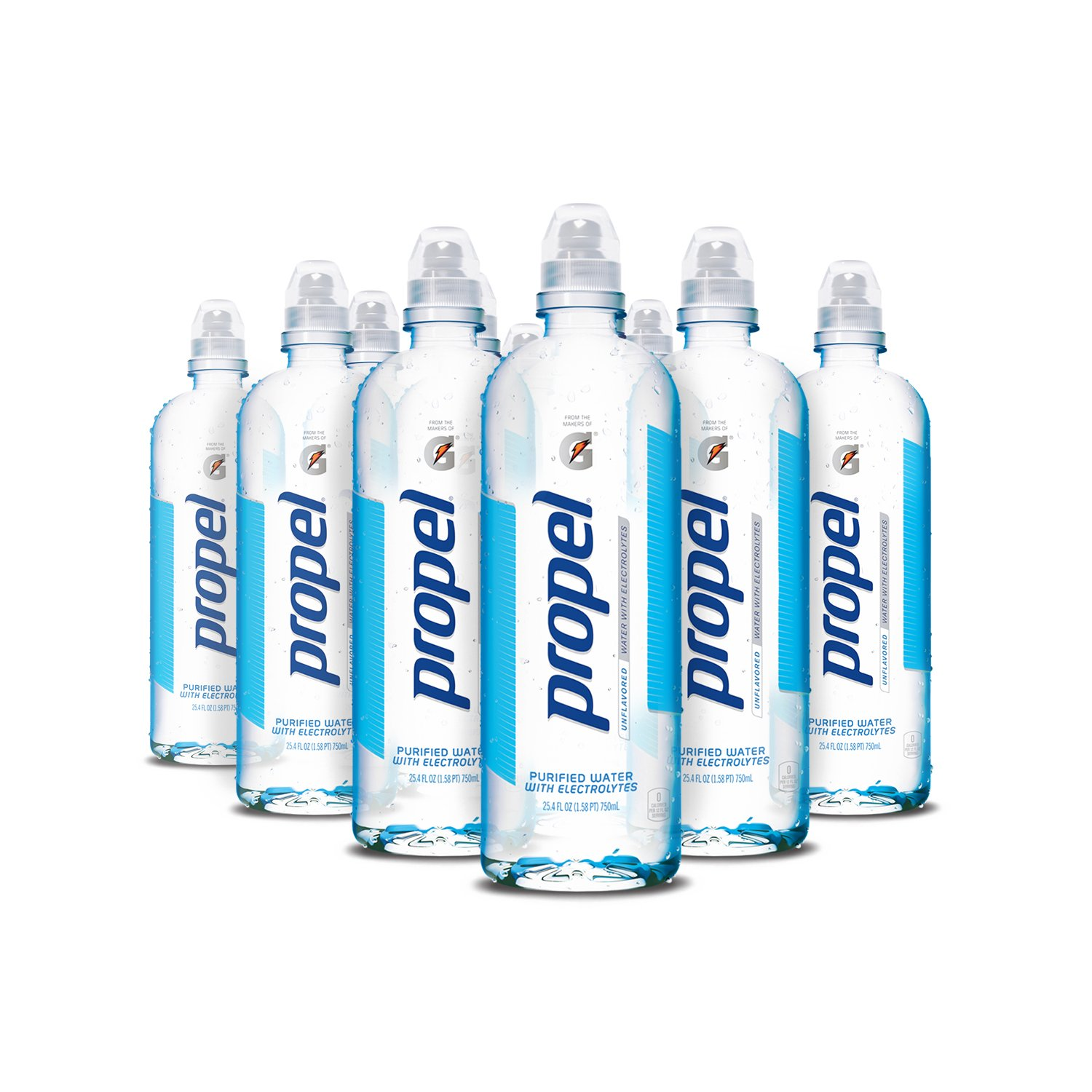 Propel Water Unflavored With Electrolytes and No Sugar, 750 ml Bottles (Pack of 12)