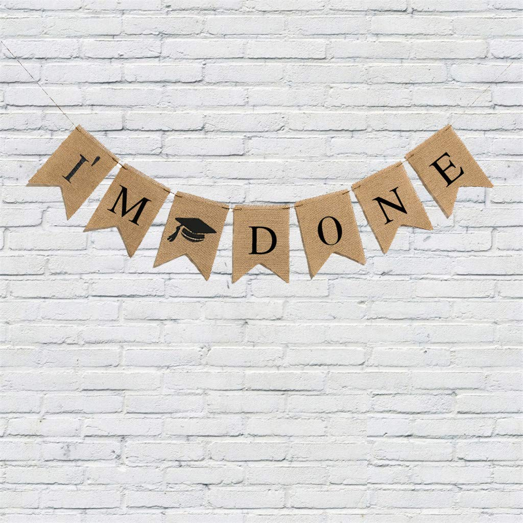 Eve.Ruan 2019 Graduation Bunting Banner I/′M Done with Burlap Material Rustic Touch and Adjustable Flags for Celebrating and Parties Decor
