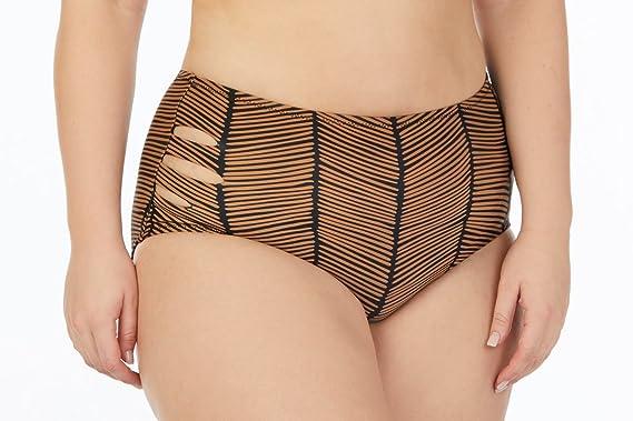 2cbb66ab5b9f Amazon.com  Raisins Curve Juniors Plus Size Maharani Havana Mid Rise Pant Swim  Bottom-24W-Black  Clothing