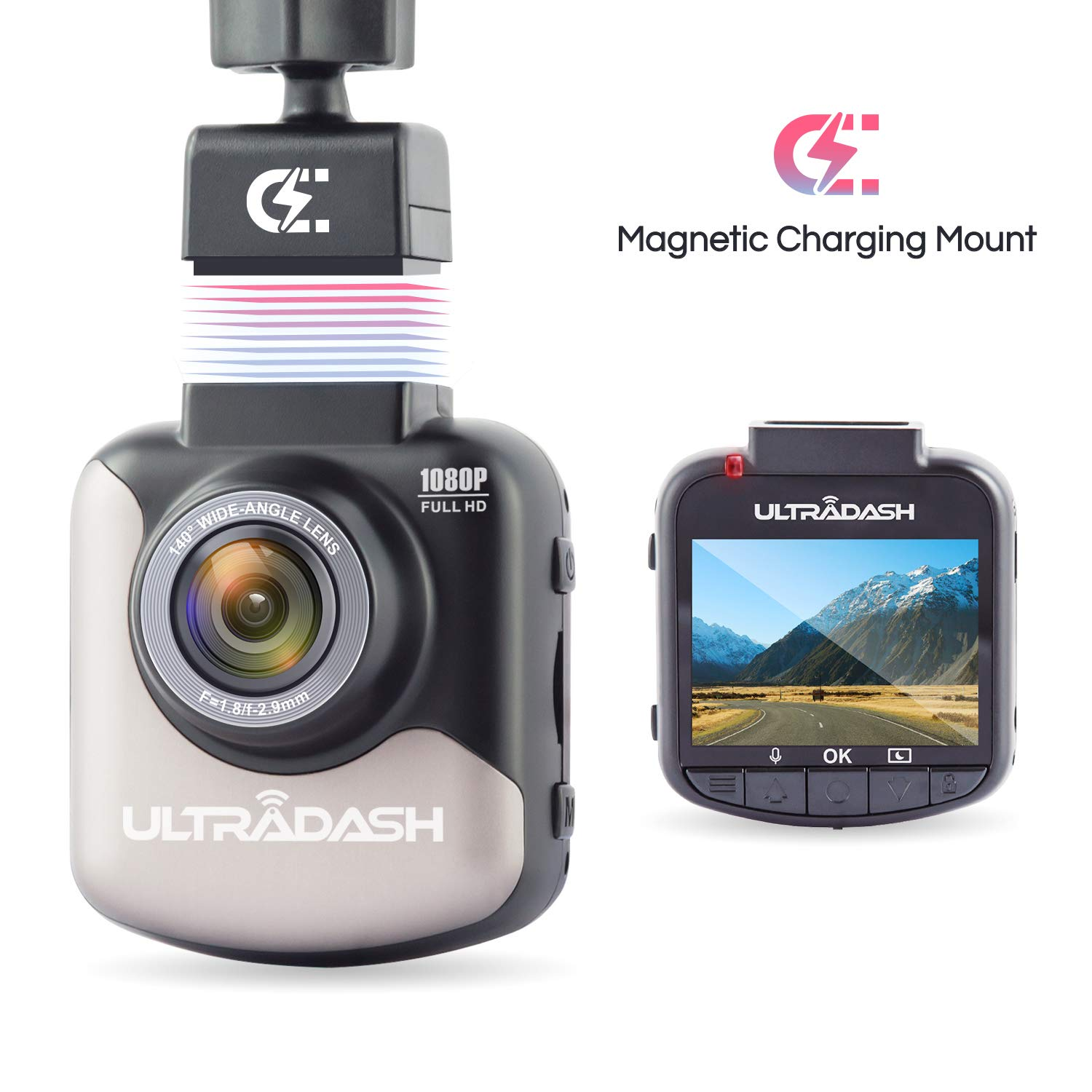 Dash Cam, UltraDash Full HD 1080P@30fps, Magnetic Charging Mount, HDR High-end Night Image Sensor, 6 Layers Glass F1.8 140 Degree Wide Angle Lens, G-Sensor, 2 Inch LCD, Super Capacitor, Loop Recording