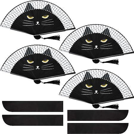 Abanico Plegable de Gato de Mano Abanico de Dibujo Gato Lindo de Seda Abanico de Gato