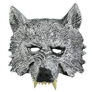 BEETEST Máscara de goma Wolf hombre lobo para Cosplay Halloween Props Masquerade Ball Bar decoración disfraz
