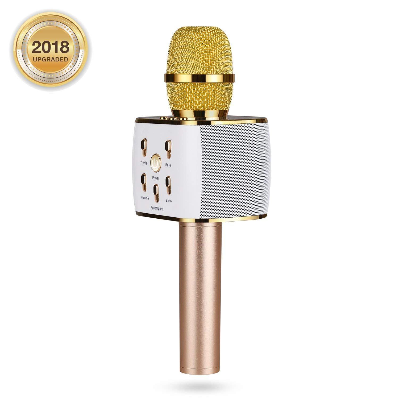 Wireless Karaoke Microphone, Portable Karaoke Machine for Kids with Bluetooth Speaker,USB-Stick Player, bluetooth wireless microphone for iPhone,Android, iPad,TV (gold) by AwesomeWare