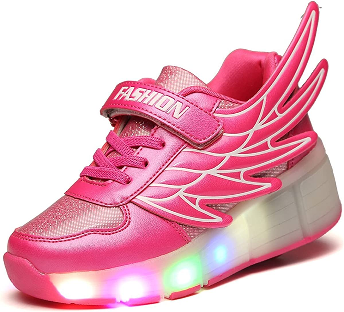 pit4tk LED Light Up Single//Double Wheel Roller Skate Shoes Fashion Sports Flashing Sneaker Boys Girls Kid