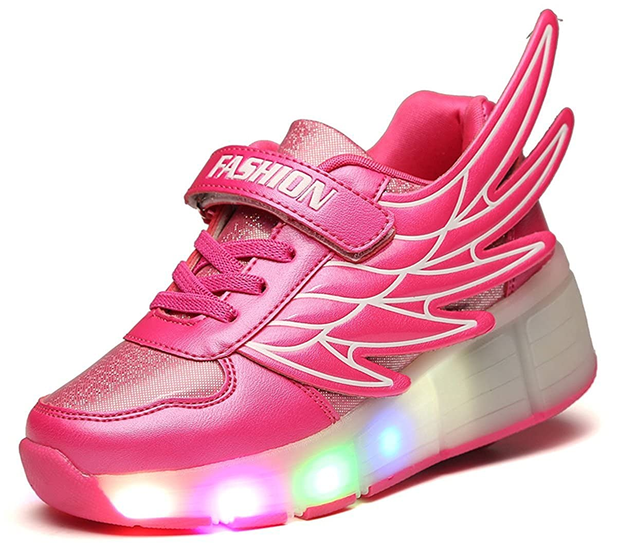 LED Light Up Roller Wheel Shoes Athletic Sneaker Sport Shoe Dance Boot Kid Wing Christmas Halloween Gift