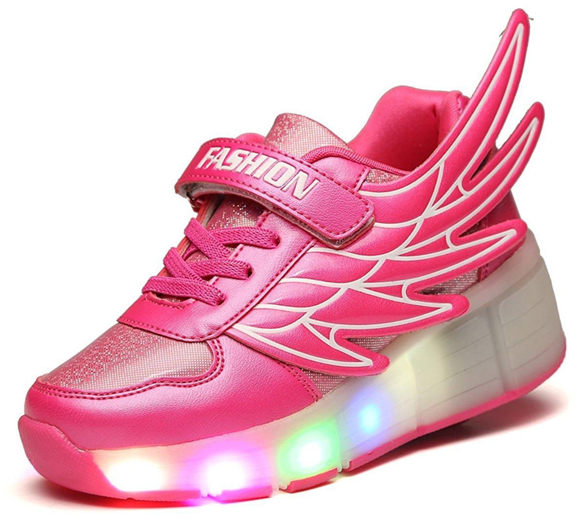pit4tk LED Light Up Roller Wheel Shoes Athletic Sneaker Sport Shoe Dance Boot Kid Wing Christmas Pink