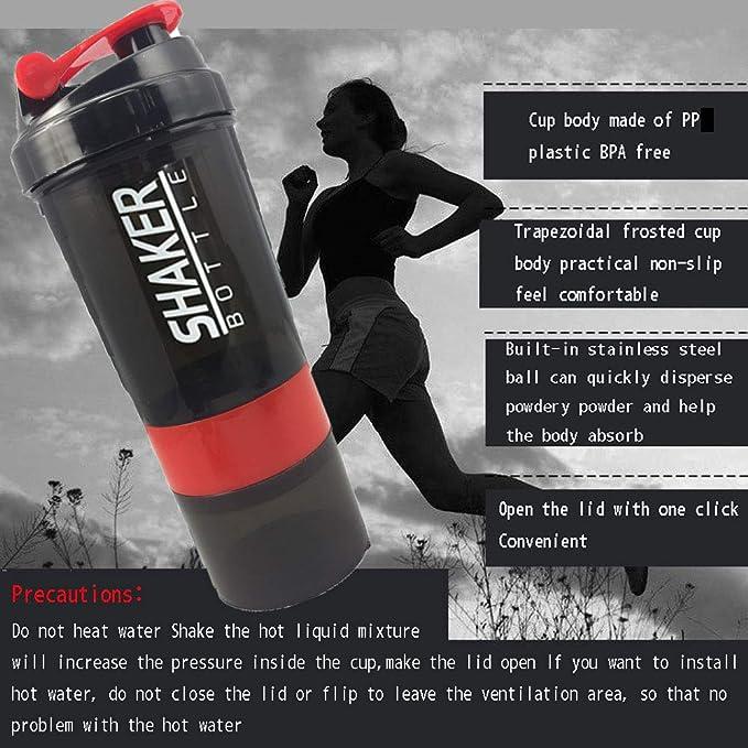 YAGUANGSHI Botella de batido de Polvo de proteína Creativa ...