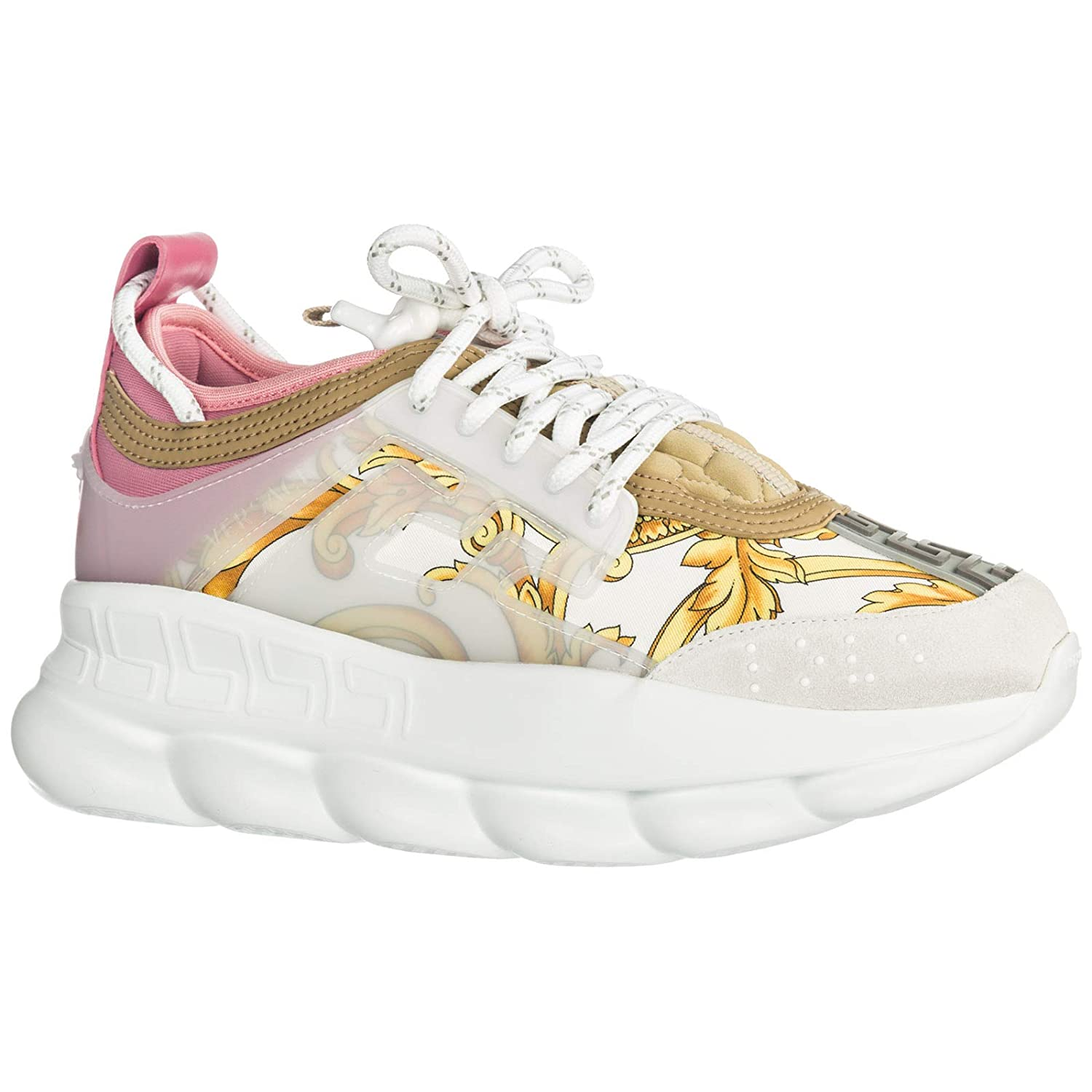 59f1fd9fc8 Versace Women Chain Reaction Sneakers Bianco + oro + Shell Pink 2 UK ...